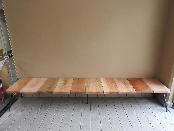 家具工房クラポ・ベンチ5340 ウォールナット・チェリーの無垢材のシンプルなベンチ