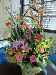 卒業のお祝いの花の写真