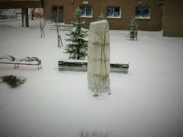 雪の中庭風景